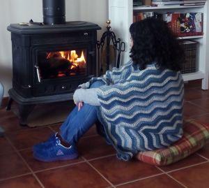 manta ondas azul chimney